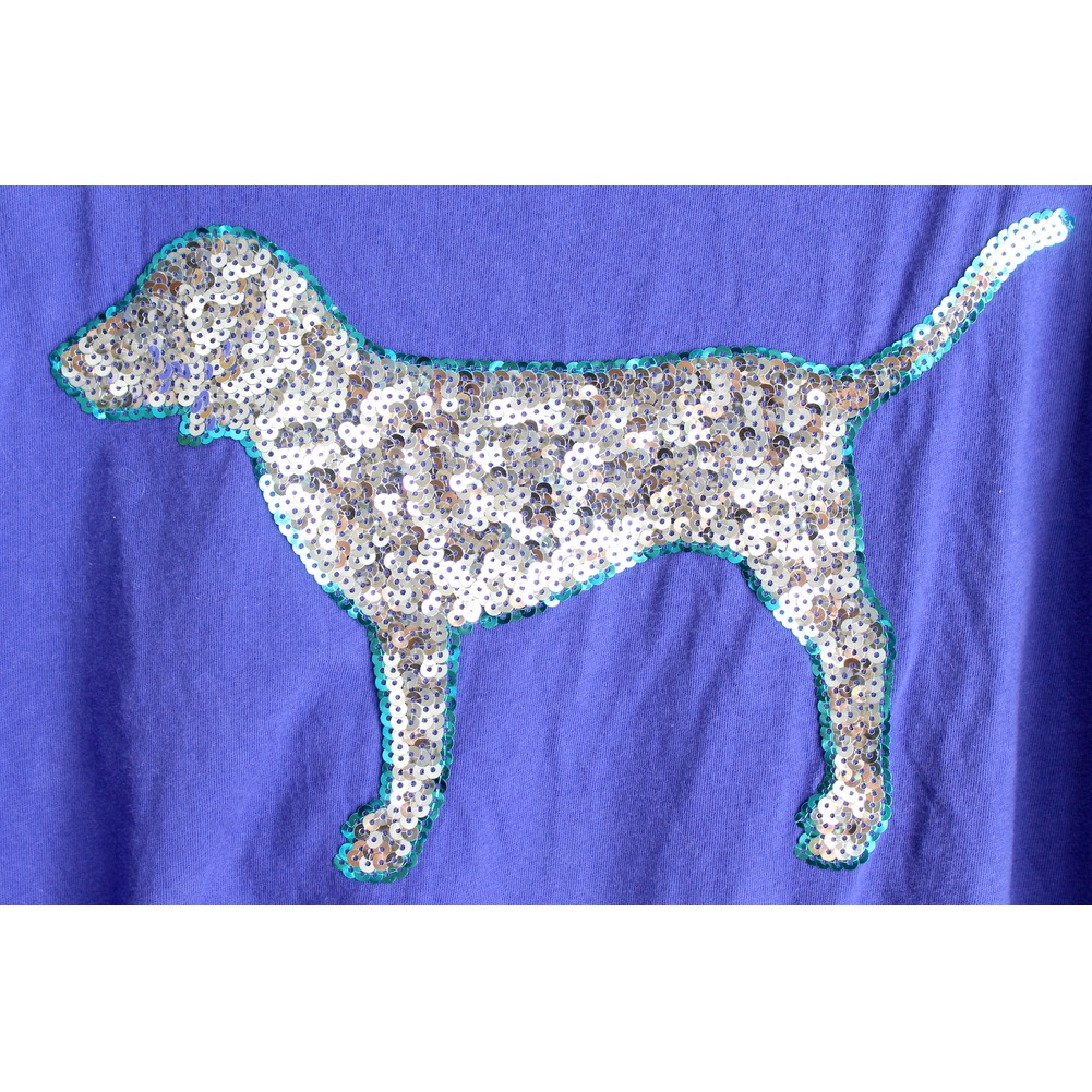 Victoria's Secret Pink Womens Sz XS Royal Blue Sequin Dog T Shirt EUC