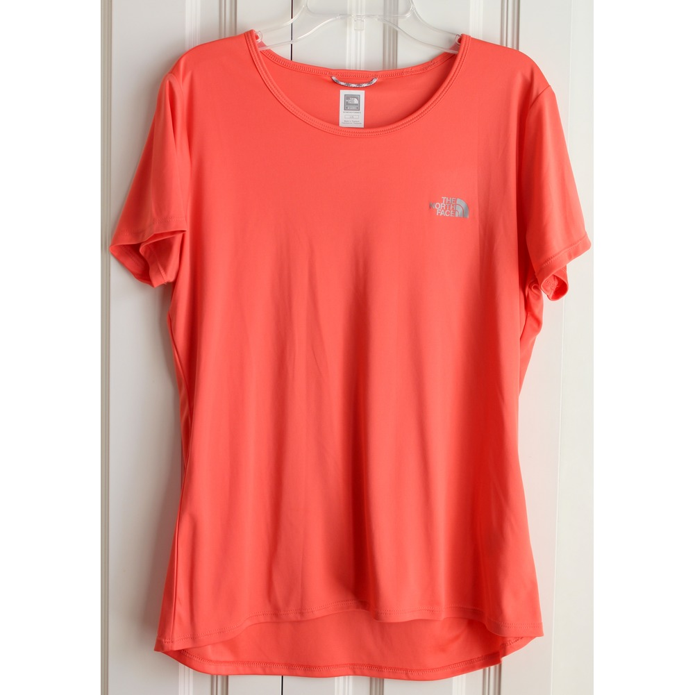North Face Womens Sz L Orange Hi Low Polyester Flight Series Top