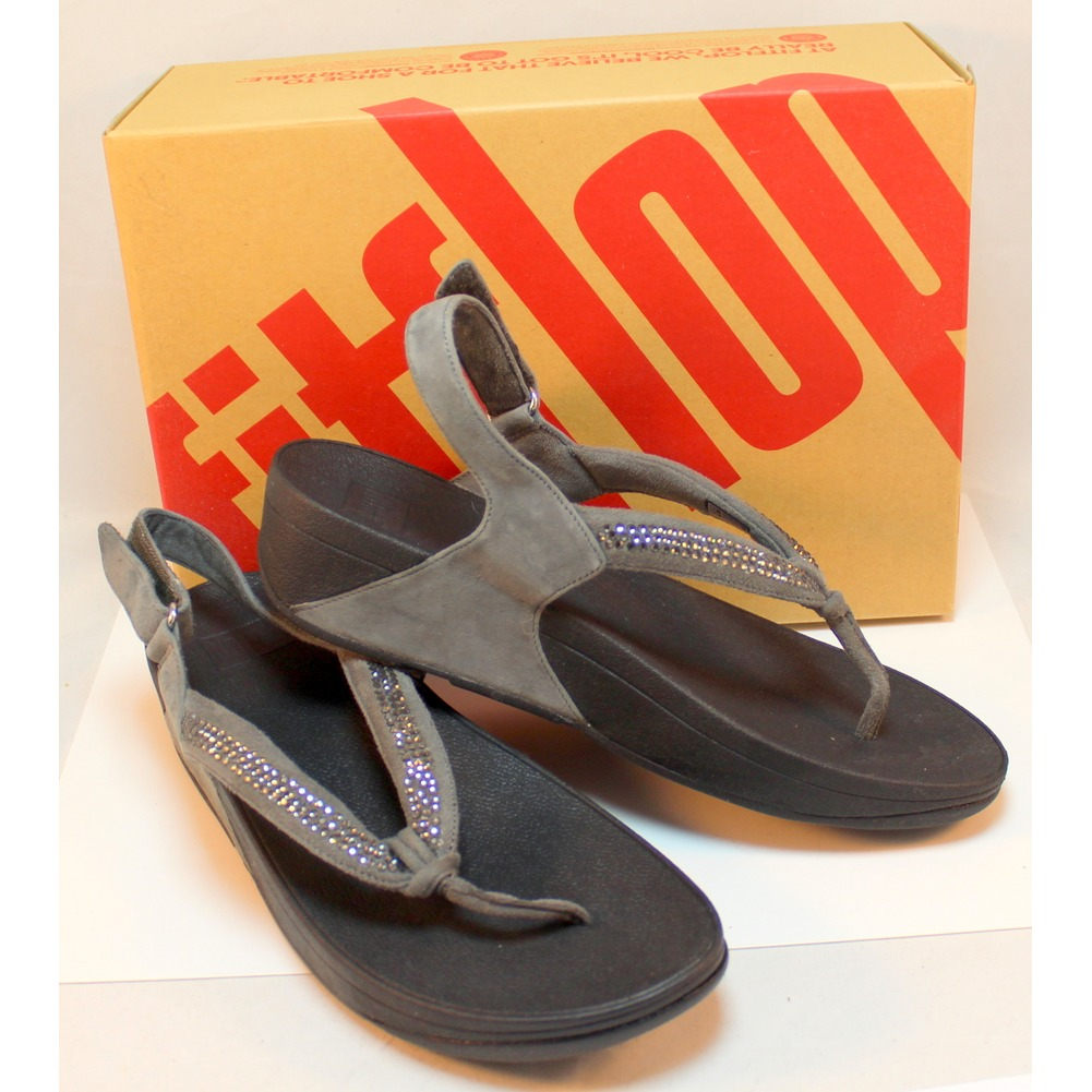 Fitflop Crystal Swirl Pewter Gray Wedge Sandal NIB Bling New US 10 Eu 42