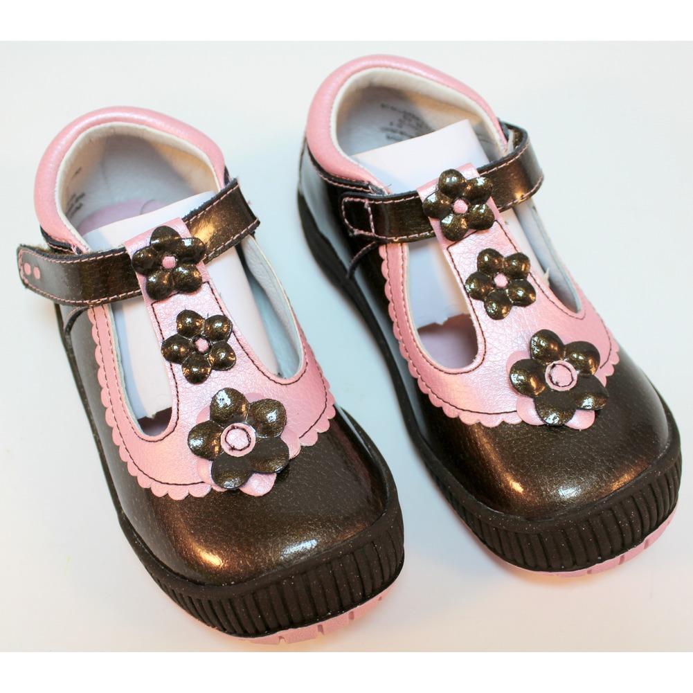 Girls Shoes Scalloped T Strap Espresso Robeez 1st Step sz 8 25