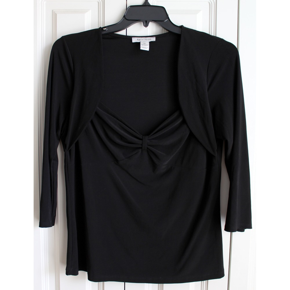 White House Black Market Womens Sz XL Black Sweetheart Top