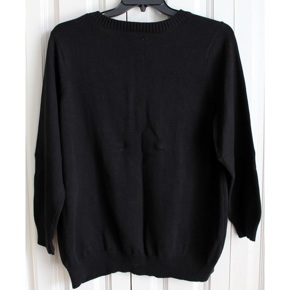 Karen Scott Womens Plus Sz 1X Black Knit Sweater