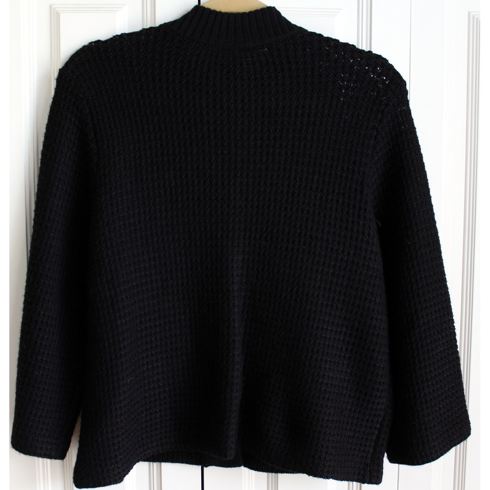 Womens Chicos Sz 2 Black Knit Snap Button Up Sweater