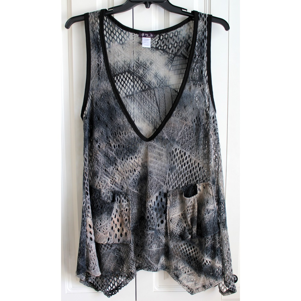 Lily by Firmiana Womens Sz XL Laganlook Netted Deep V Tunic