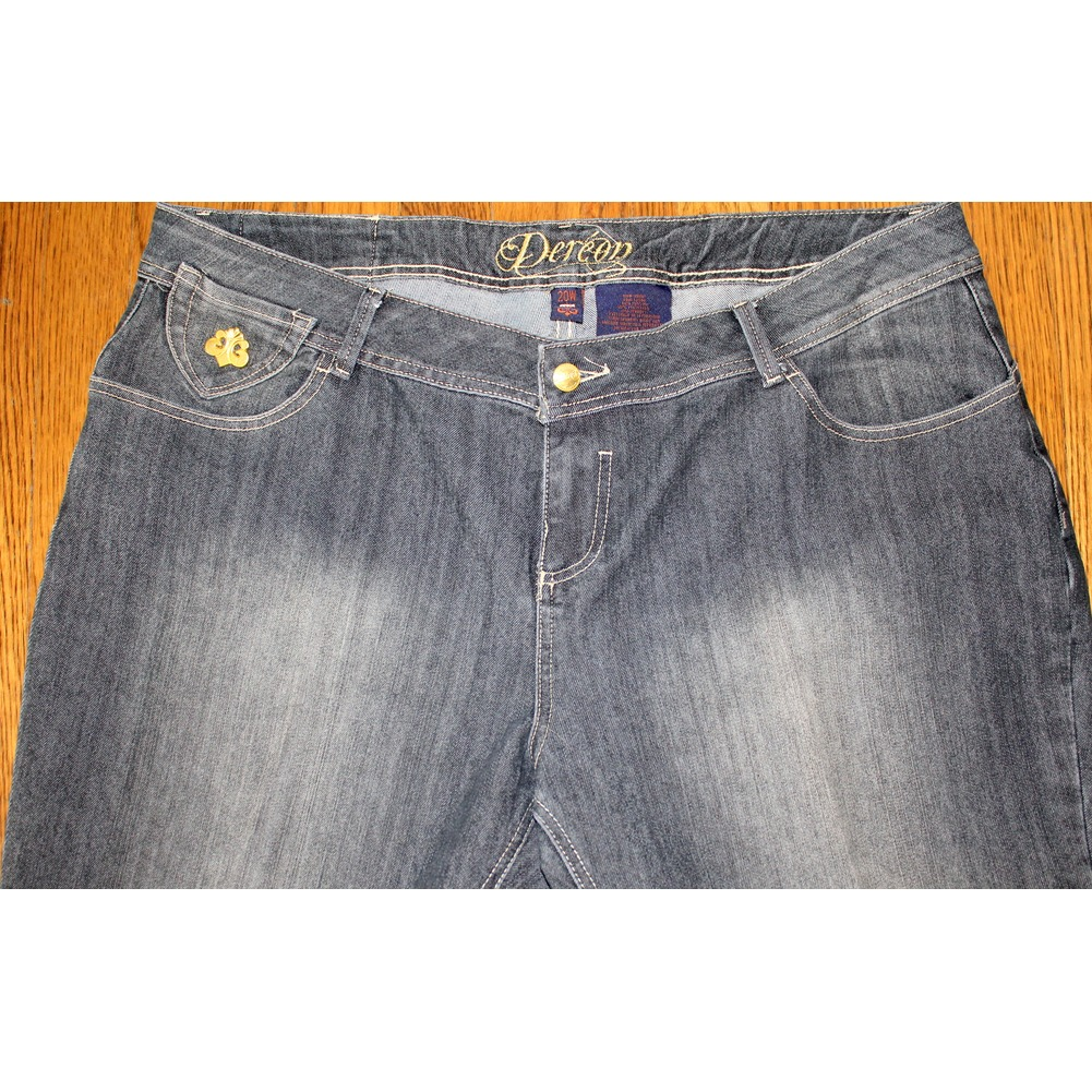 Womens Plus Sz 20W Dereon Distressed Gray Black Denim Jeans