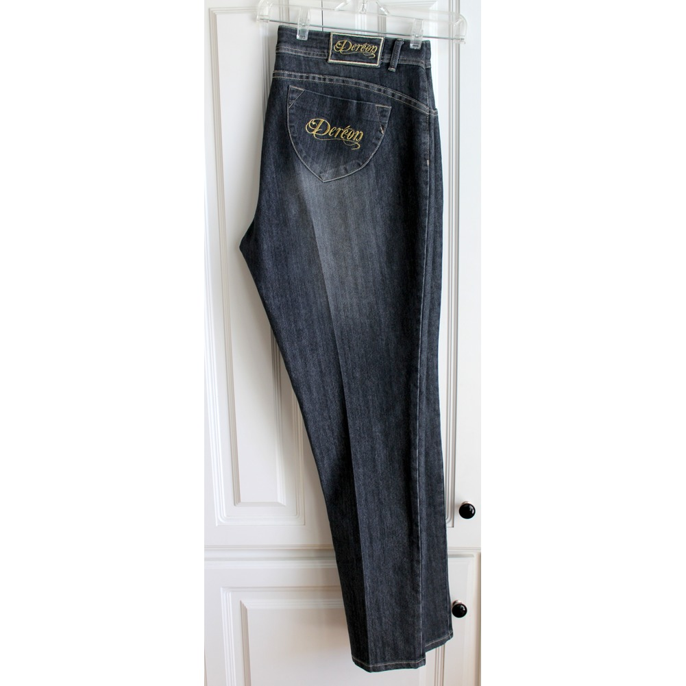 Womens Plus Sz 20W Dereon Distressed Gray Black Denim Jeans