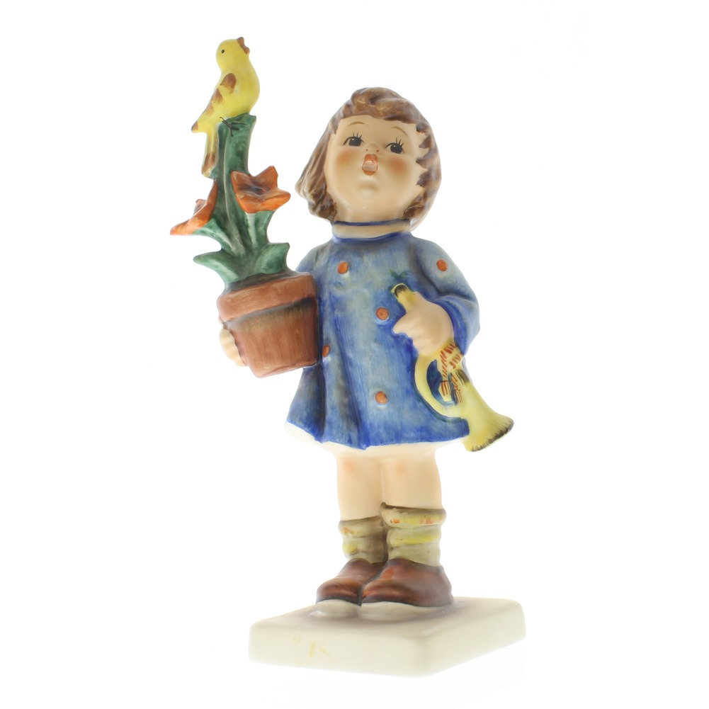 Goebel Hummel Figurine #17 Congratulations Little Girl with Bird and Flowers TMK 6