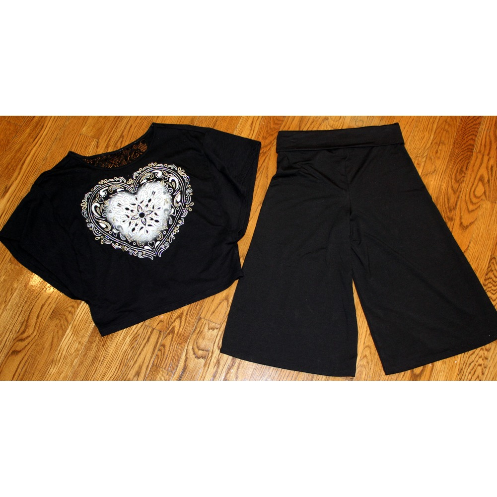 Justice 4 Pc Lot Black Gaucho Pants Sz 12  & 3 Shirts Longsleeve Open Shoulder