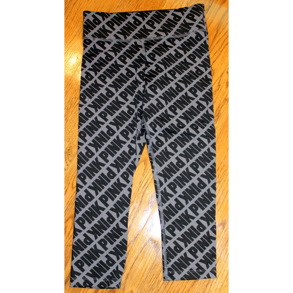 NEW Womens Teen Victorias Secret Pink Sz XS Leggings Black Gray Print NWOT