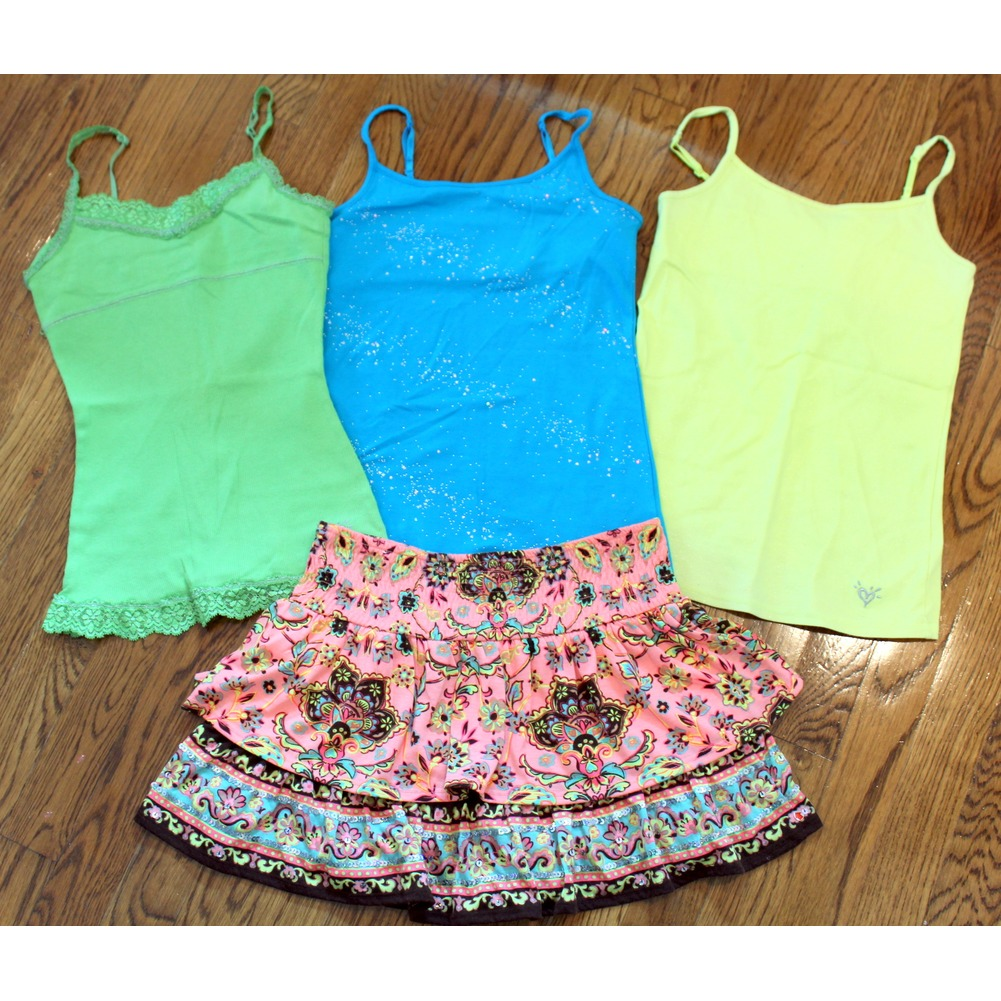 Justice Sz 10 12 Skirt Lot Marrakesh +  3 Cami Tops Shimmer
