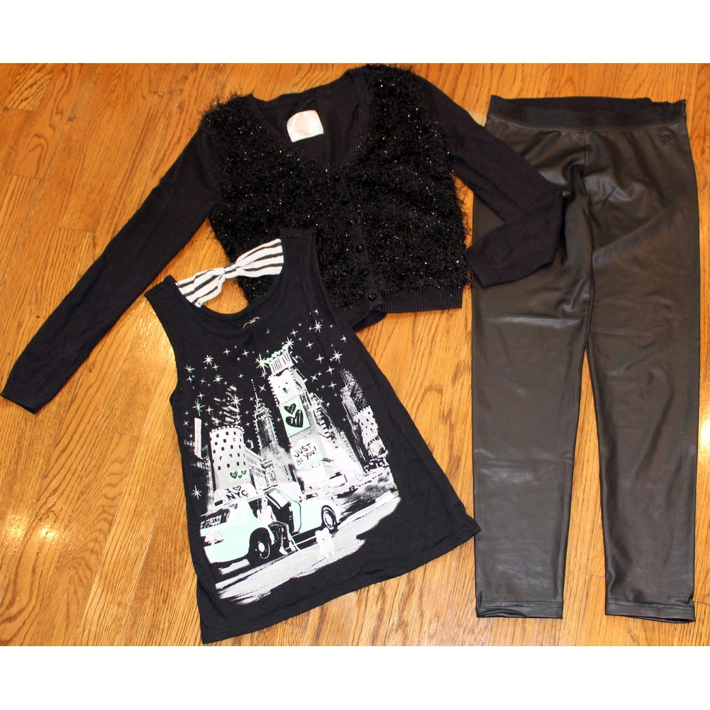 Justice Sz 12 Girls 3 Pc Black Lot Shiny Pants Fuzzy Sweater Bow Top