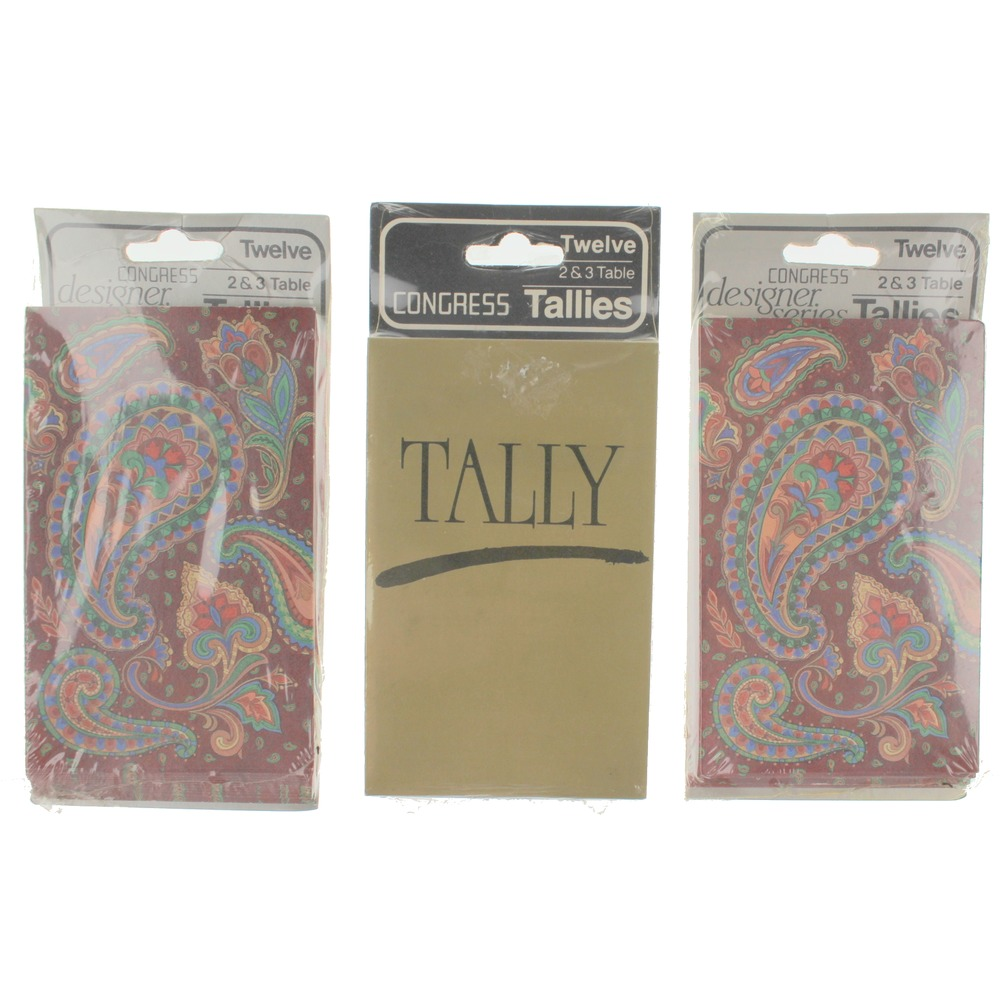 Congress Paisley Gold and Burgundy Three-Table Tally set of 12