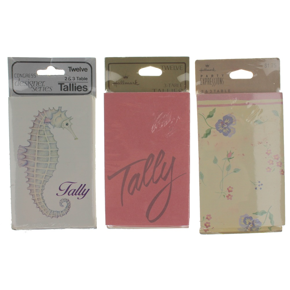 Hallmark Flowers and Seahorse lot Three-Table Tally set of 12