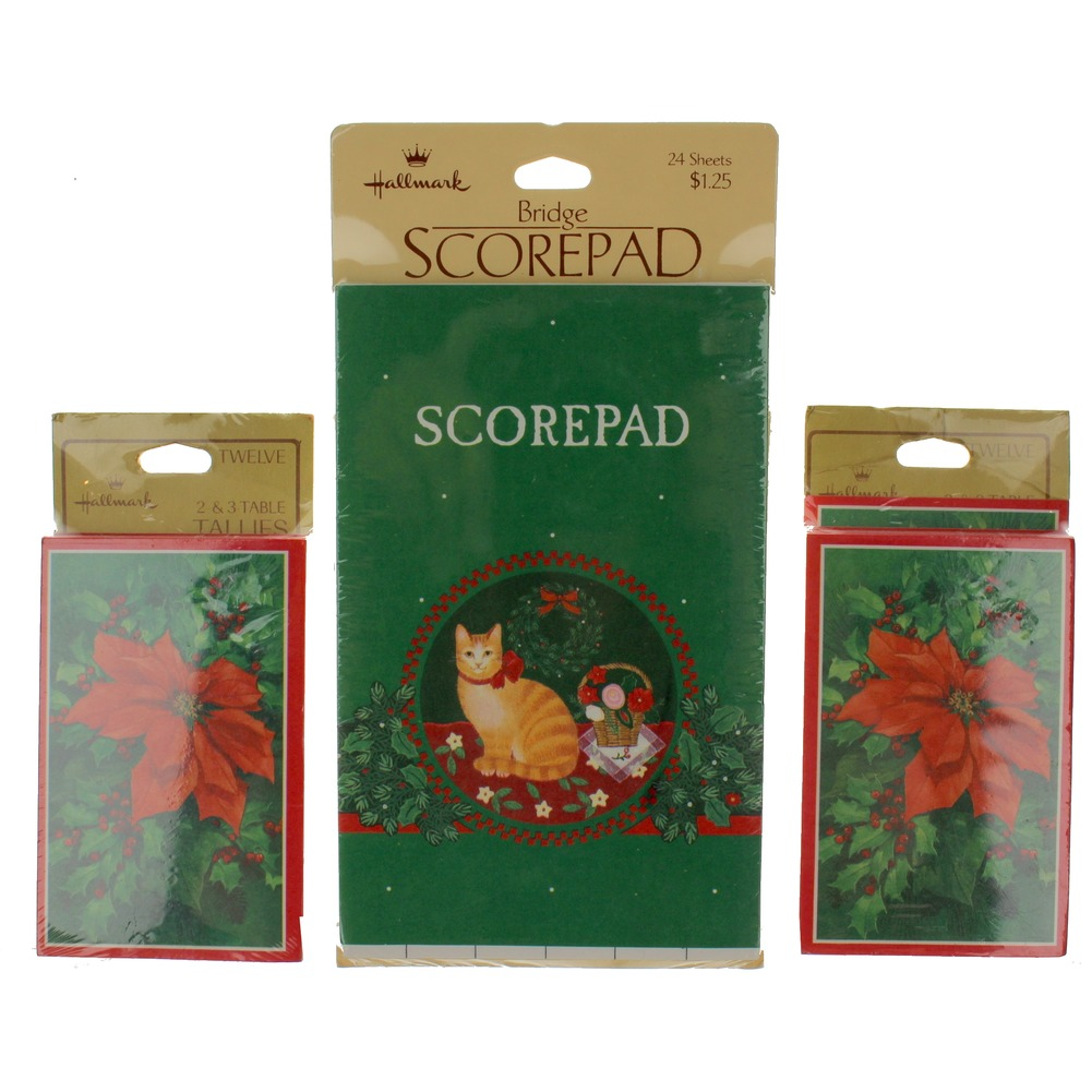 Hallmark Poinsettias and Christmas Cat lot Scorepad Three-Table Tally set of 12