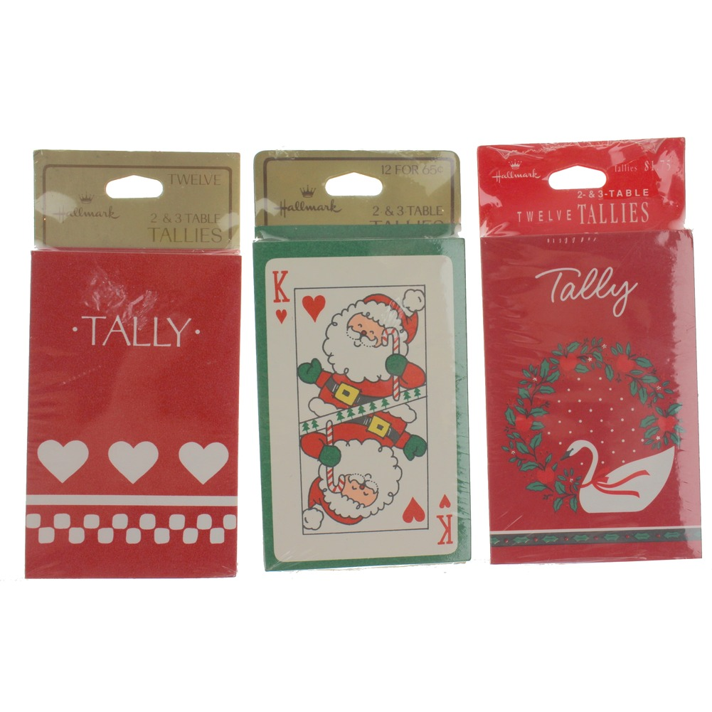 Hallmark Goose Wreath Santa Cards and Heart Tally Three-Table Tally set of 12