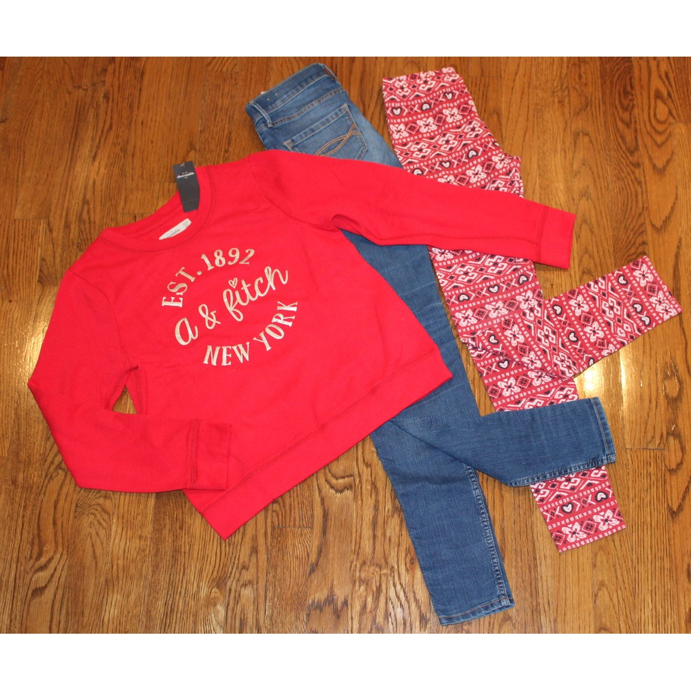 Abercrombie A & F Kids New Sz 13/14 Slim Jeans Lot Red Sweatshirt Leggings