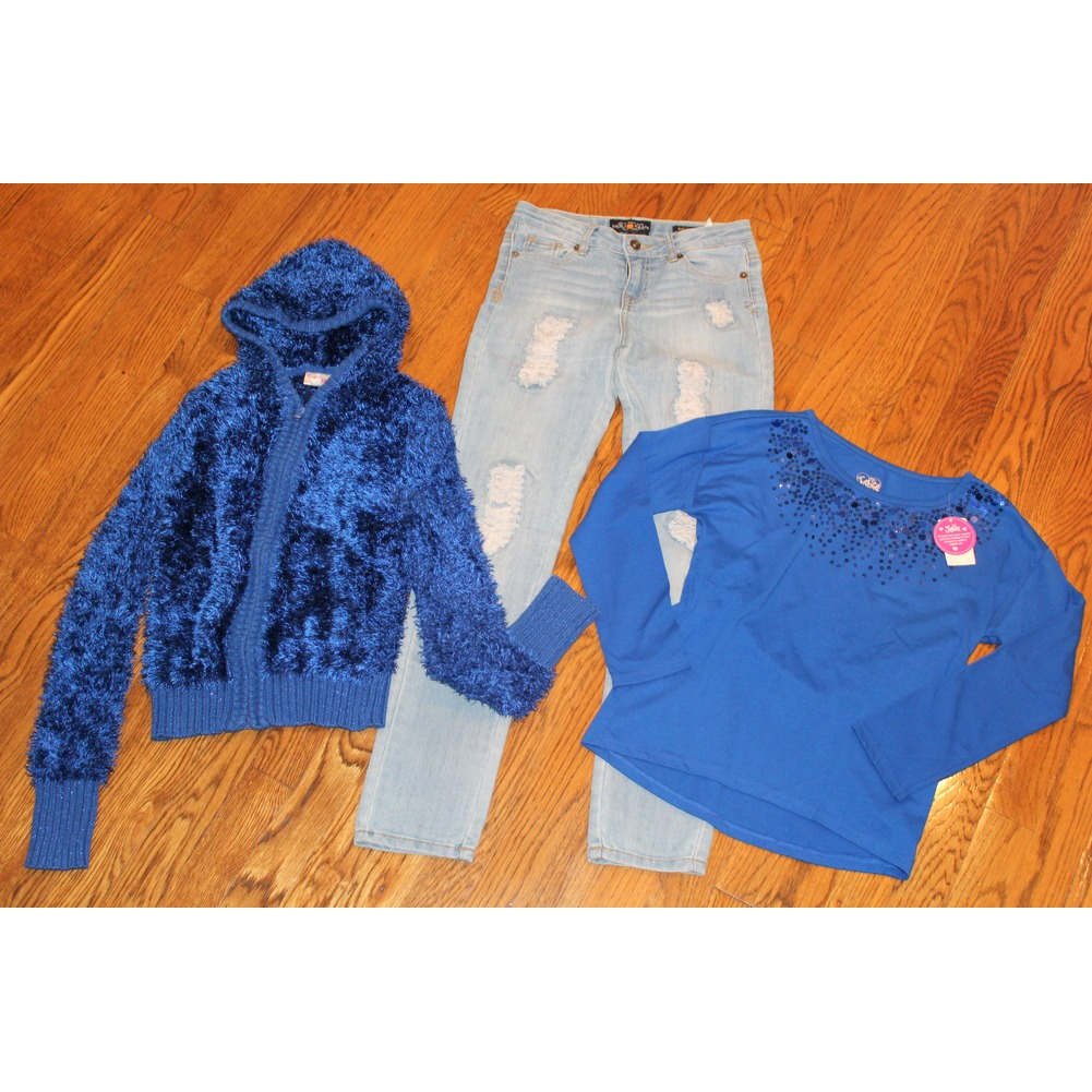 Girls Justice Sz 10 12 Blue Hoodie NWT New Shirt Lucky Jeggings Jeans Lot