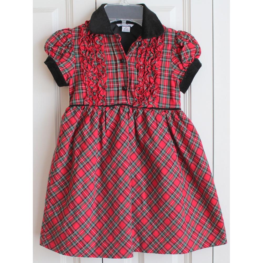 Girls Hartstrings Sz 4T Red Green Black Plaid Ruffle Holiday Dress