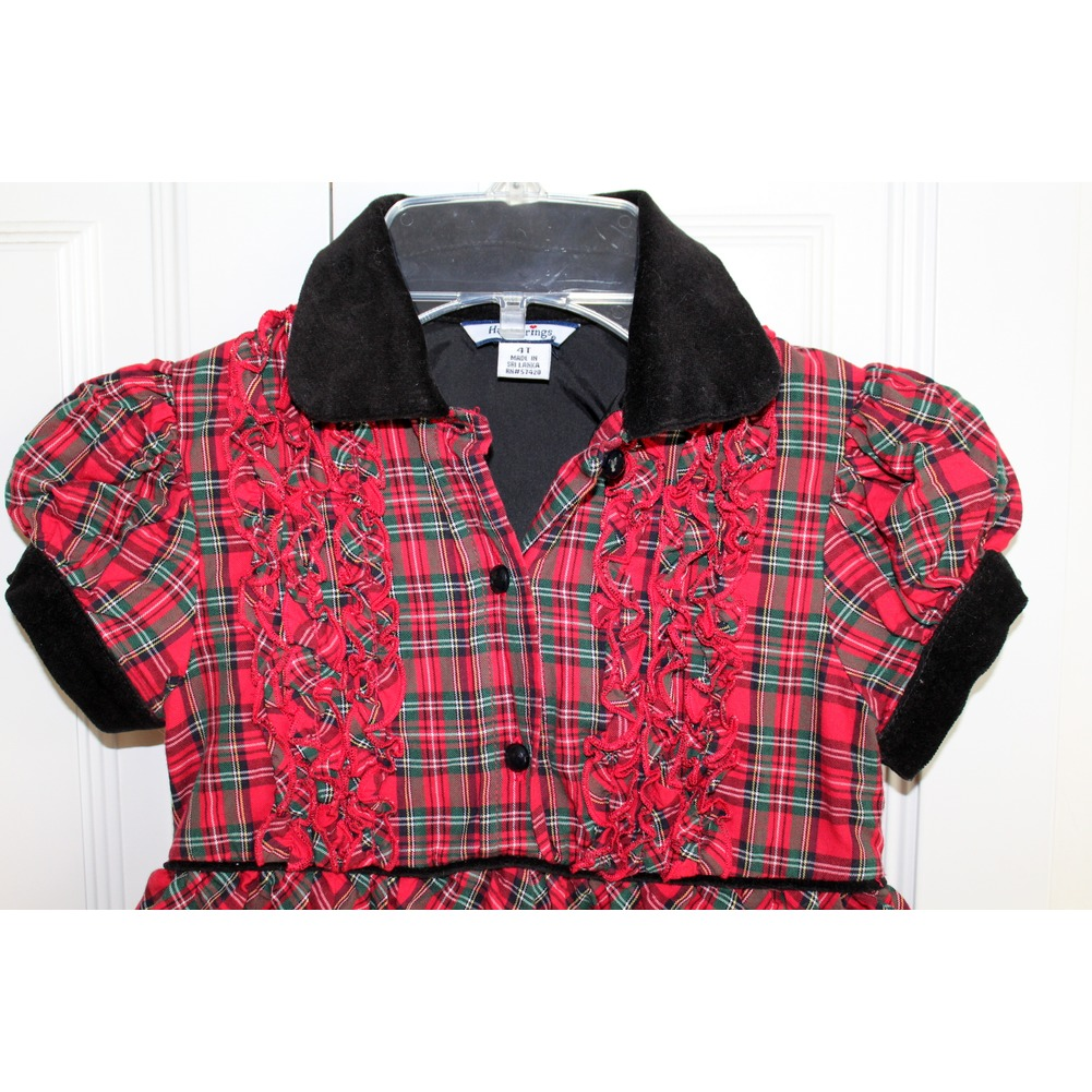 Girls Hartstrings Sz 4T Red Green Black Plaid Ruffle Holiday Dress