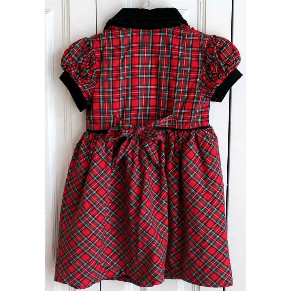 Hartstrings Sz 4T Red Green Black Plaid Short Sleeve Ruffle Holiday Dress