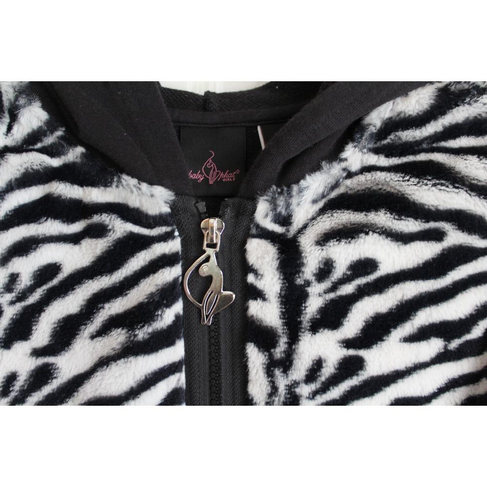 Girls Baby Phat Sz M Hooded Full Zipper Black White Zebra Fur Jacket
