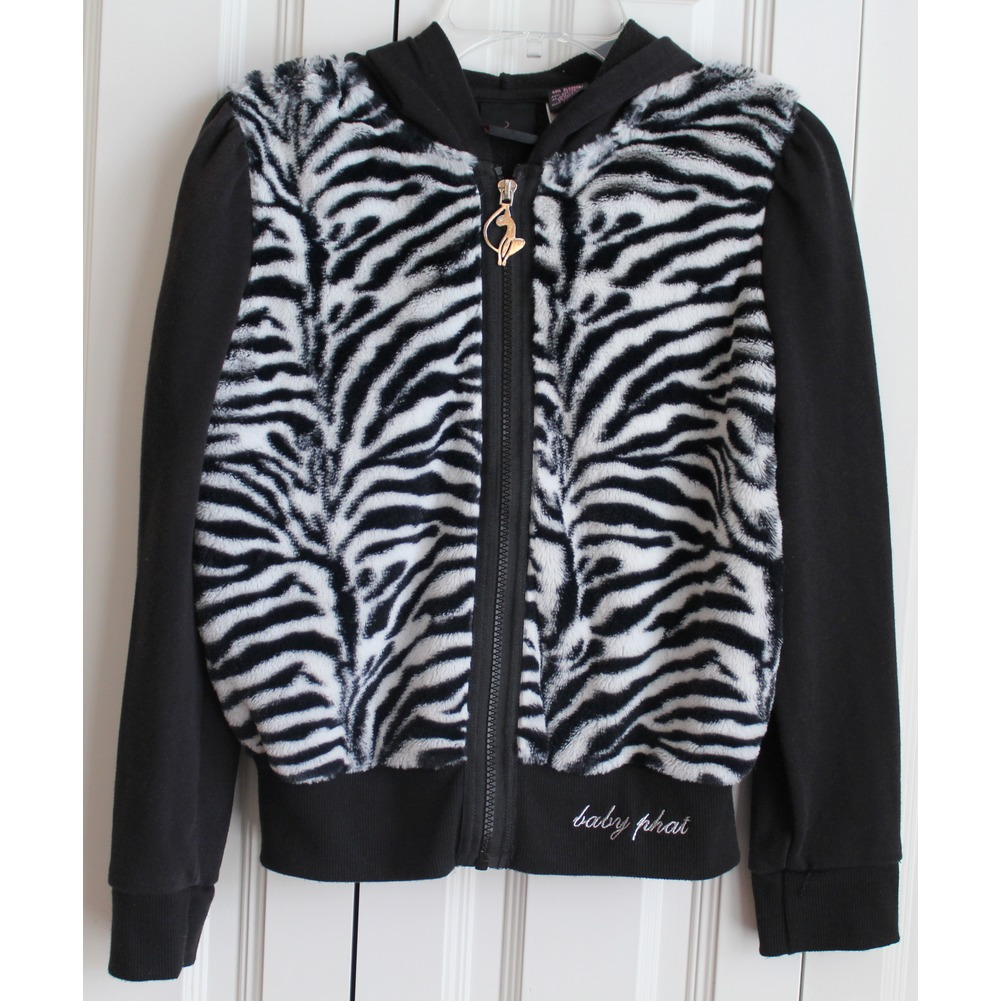 Girls Baby Phat Sz M Hooded Full Zipper Black White Zebra Fur Jacket