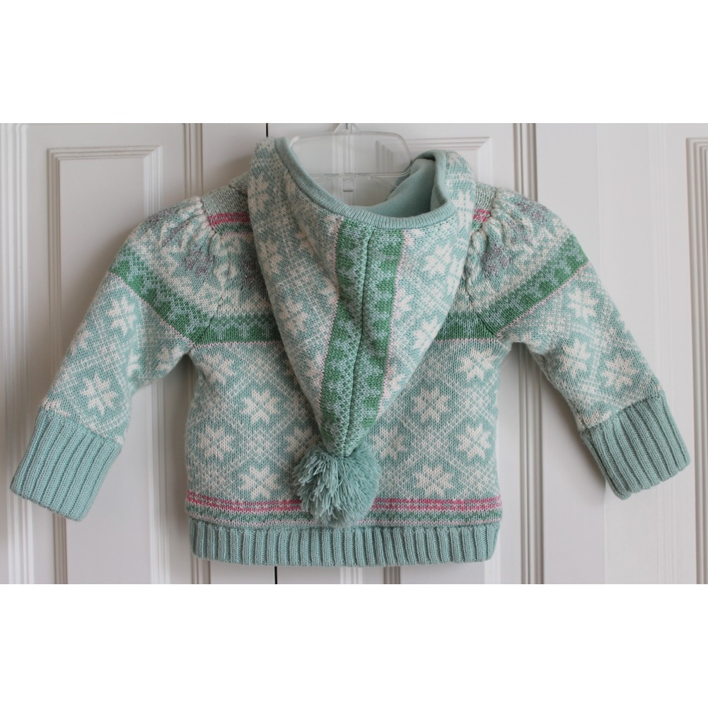 Gap Toddler Girls 12 18 Mo Lined Hood Snowflake Zipper Sweater Green Sparkle