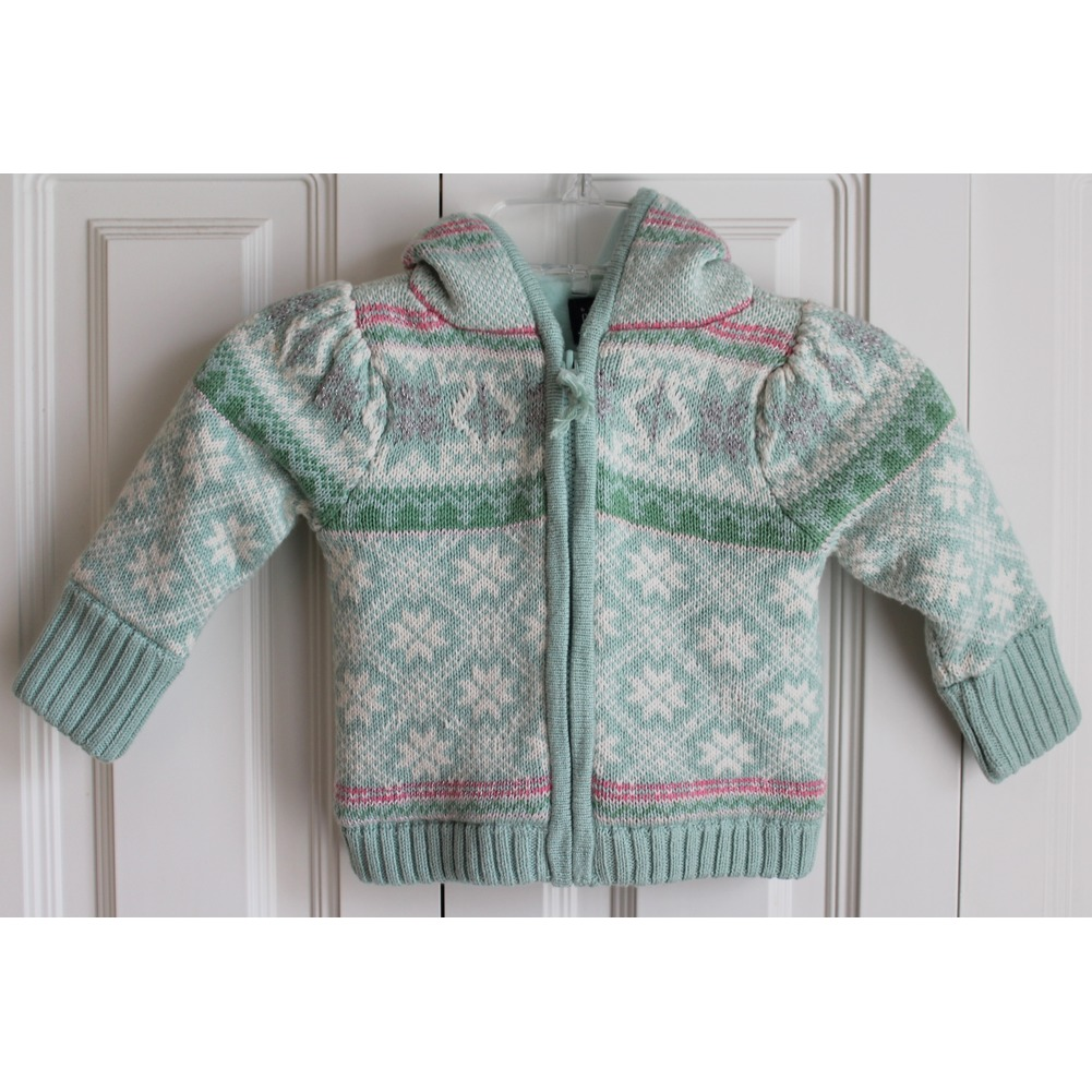 Gap Toddler Girls 12 18 Mo Lined Hood Snowflake Zipper Sweater Green Sparkle