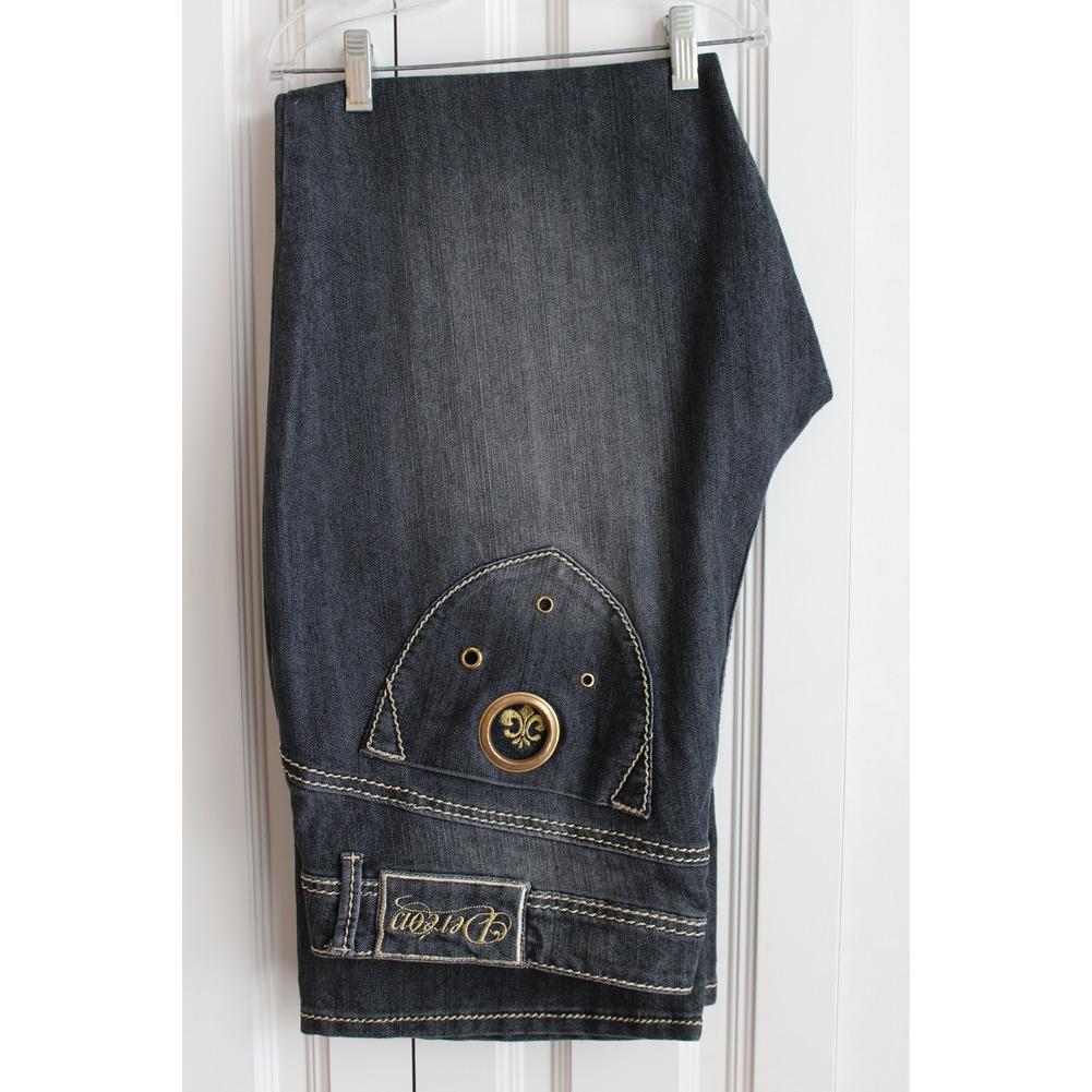 Womens Plus Sz 20 W Stylish Dereon Black Distressed Denim Jeans