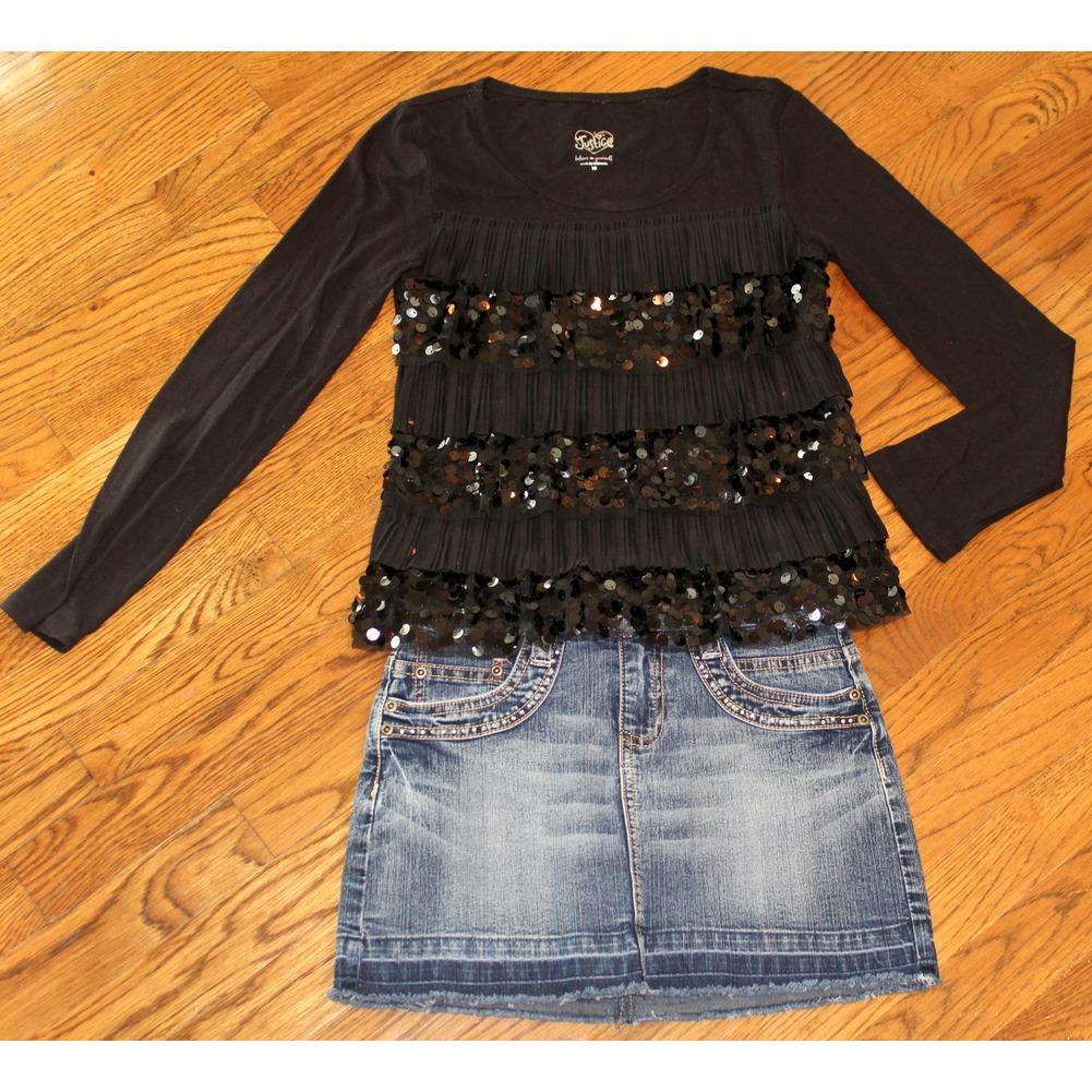 Justice Girls 10 12 Lot Crystal Pencil Denim Skirt + 3 Shirts