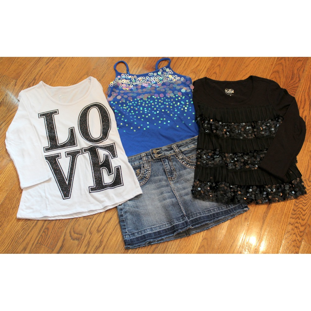Justice Girls 4 pc Lot 10 12 Crystal Pencil Denim Skirt 3 Shirts
