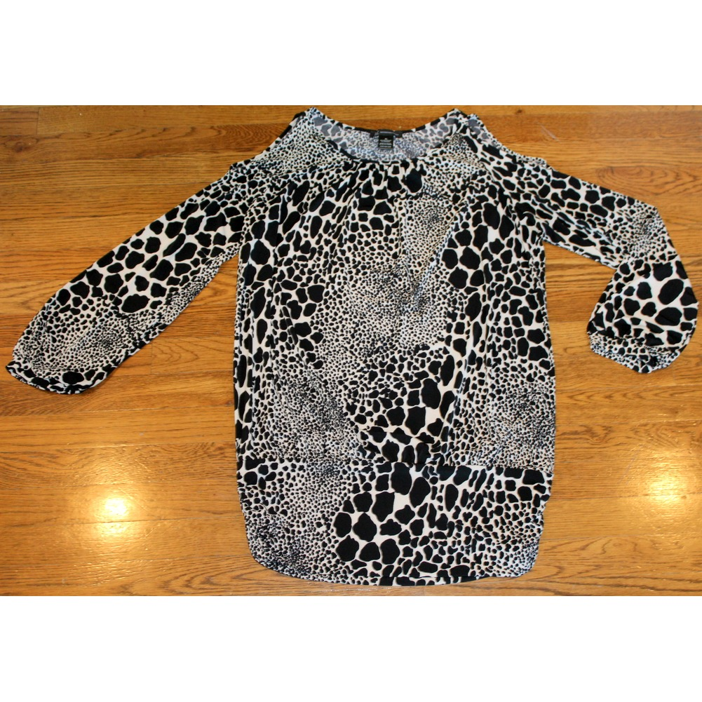 Womens INC Cold Shoulder Top Sz XL Ecru Black Spotted Long Sleeve