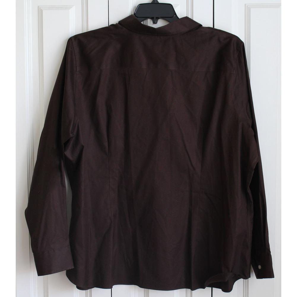 Womans Plus Landsend Sz 24W Button Up Brown Cotton No Iron Shirt