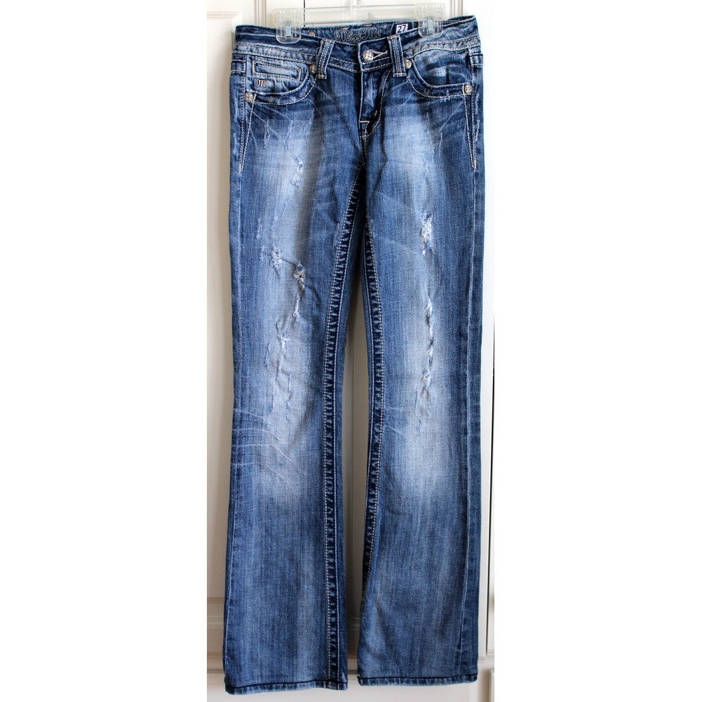 Womens Teens Miss Me Sz 27 Boot Distressed Destroyed Blue Jeans