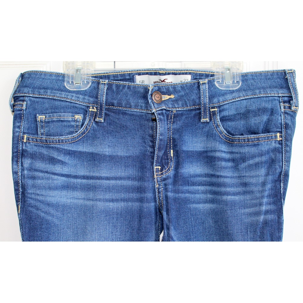 Hollister Womens Teens  Sz 5 R Whiskered Blue Jeans W 27 L 31