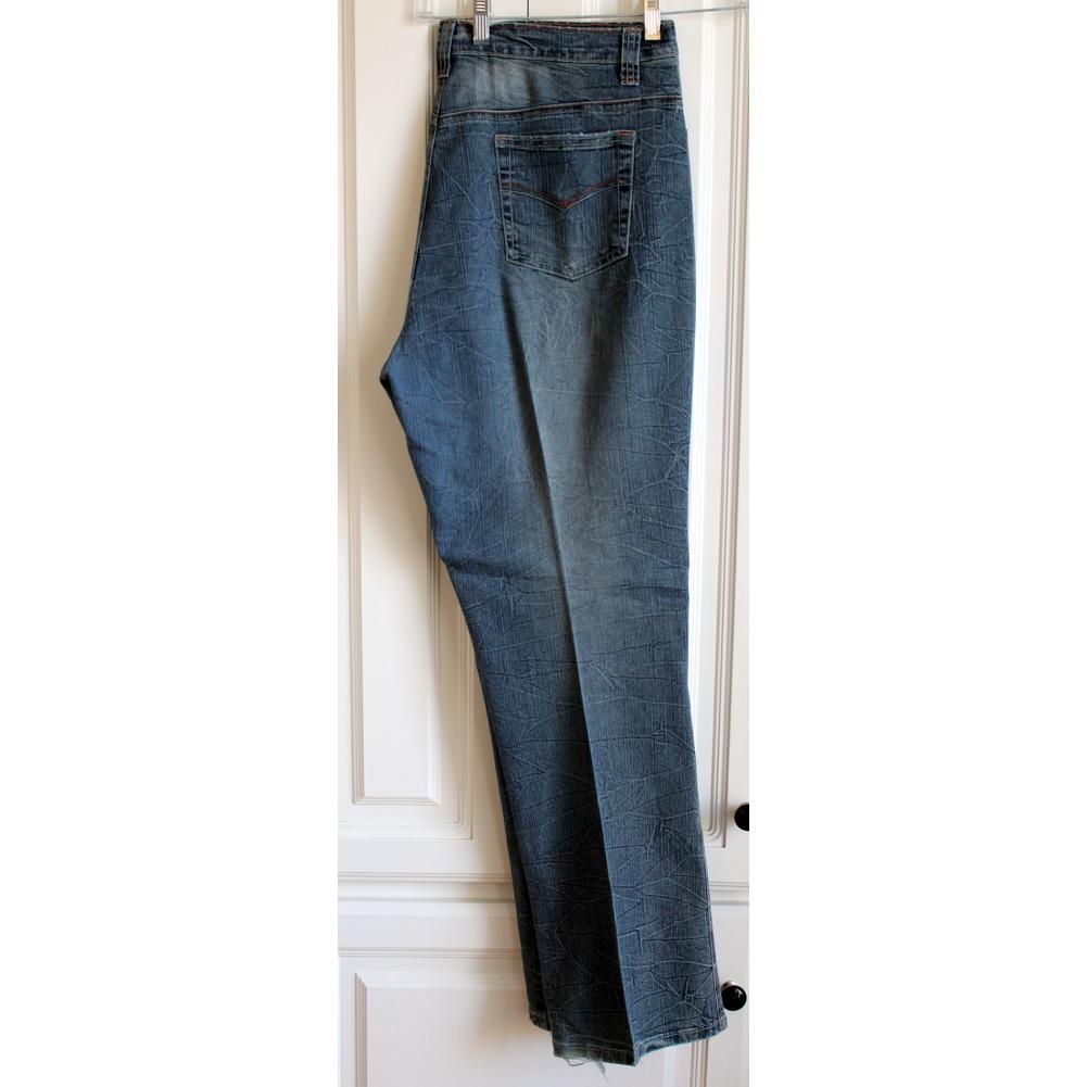 Womans Adolfo Plus Sz 18 Distressed Crinkle Denim Jeans