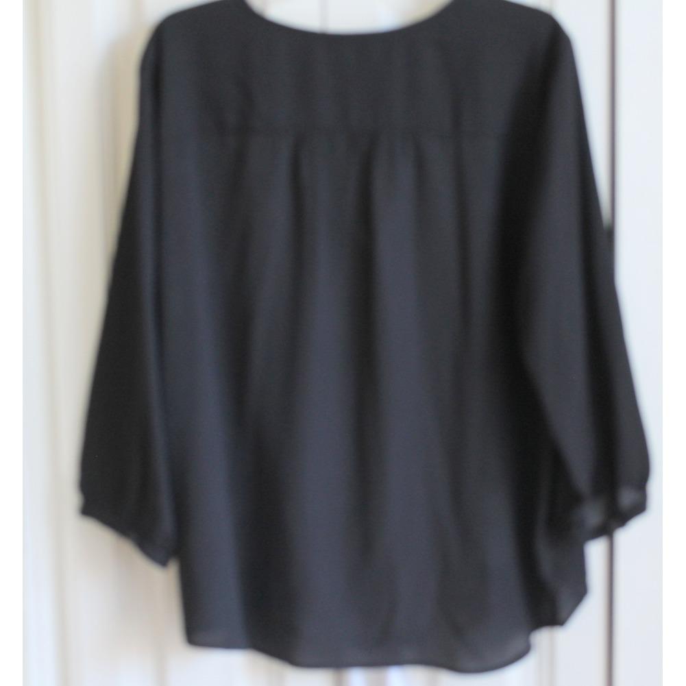 Womans Plus Nygard Sz 16 Hidden Button Blouse Black White Flower