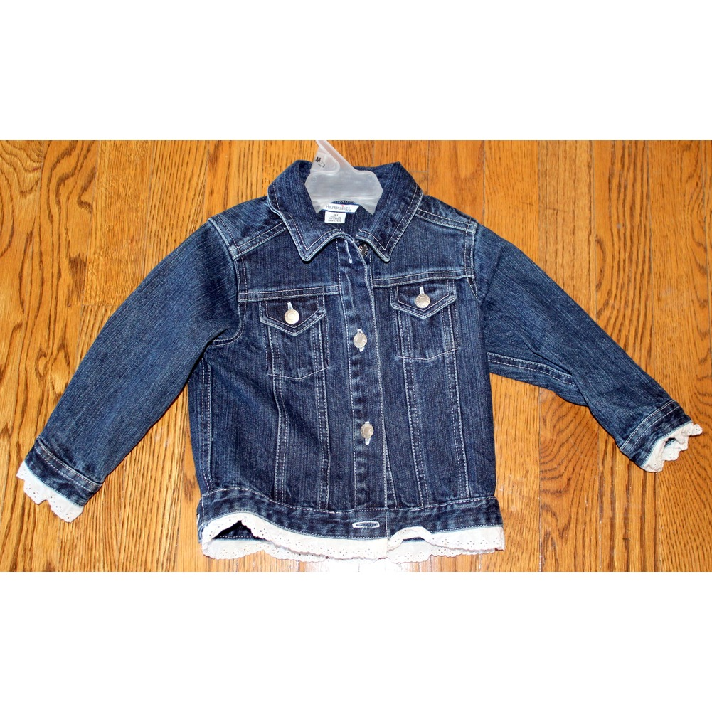 Girls Hartstrings Sz 4T Toddler Denim Long Sleeve Jacket w/ Lace