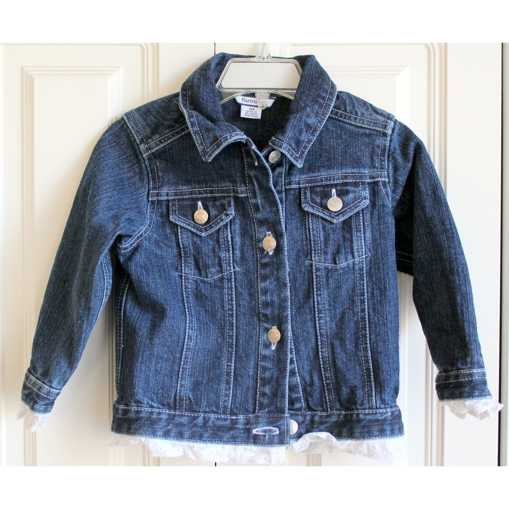 Hartstrings Sz 4T Toddler Blue Denim Long Sleeve Jacket w/ Lace