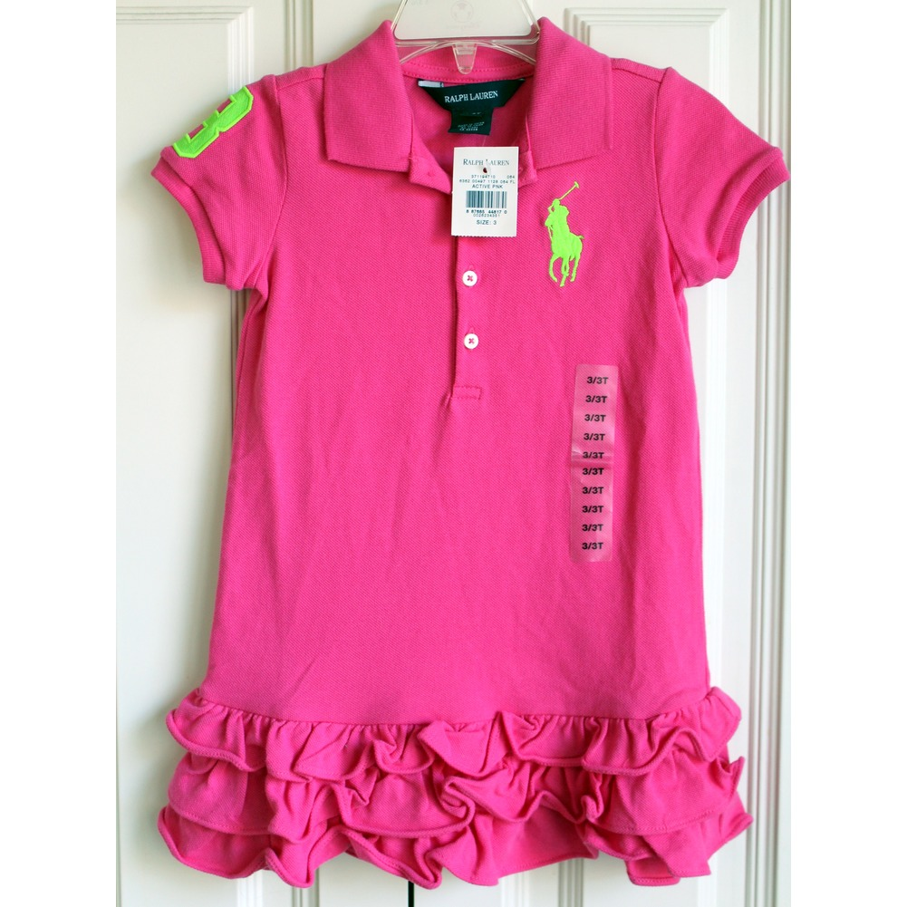 Ralph Lauren Toddler Pink Holiday Dress NWT New Sz 3/3T Ruffles Short Sleeve