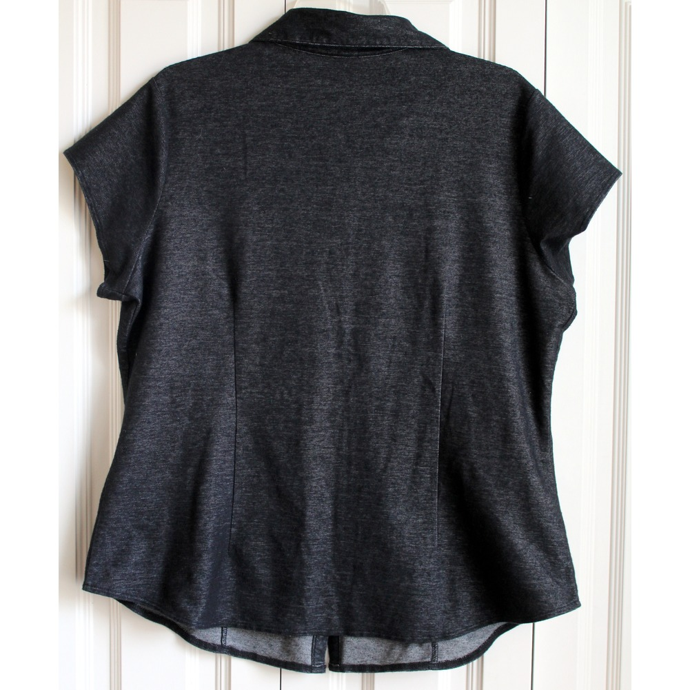 Piper & Blue Denim Womens Plus Sz 1X Black Stretch Denim Top