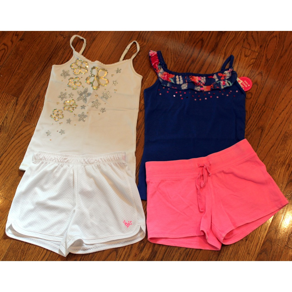 Justice Girls Sz 10 New 4 Pc Shorts Lot White Pink Blue Cami