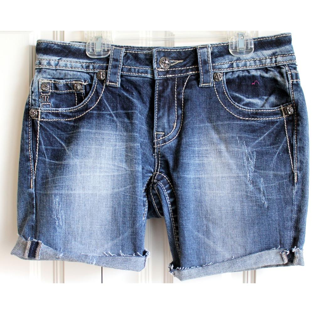 Miss Me Teen Girls Medium Wash Shorts Sz 27 Embellished