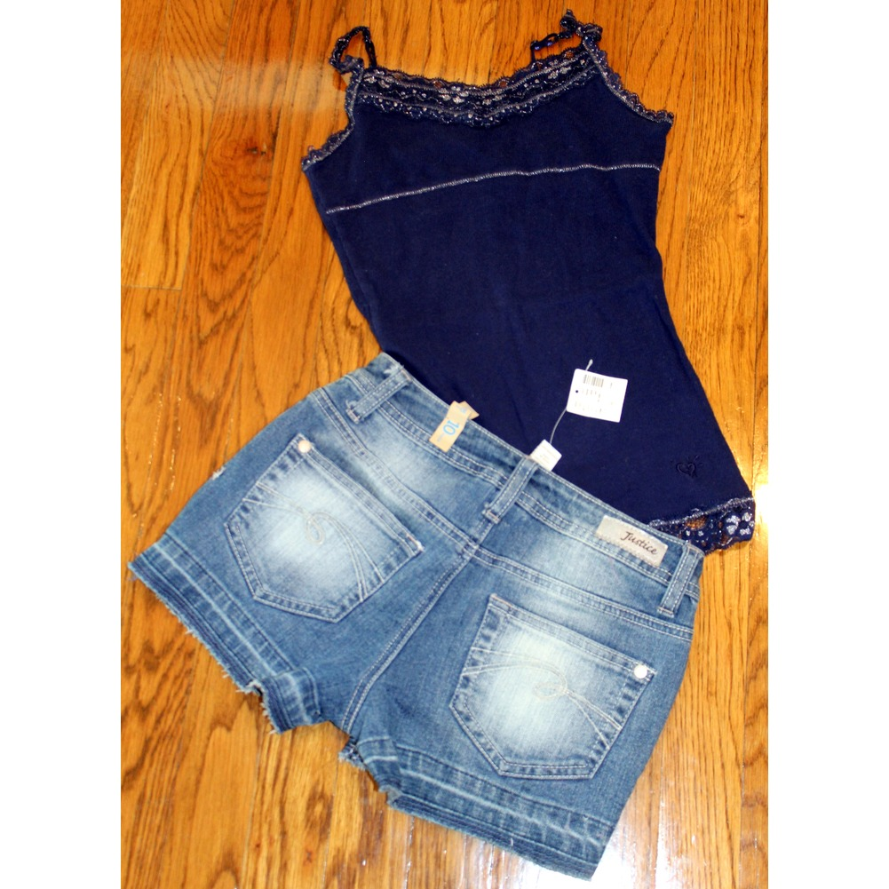 Justice New Studded Destroyed Denim Shorts 3 pc Lot Sz 10 Navy