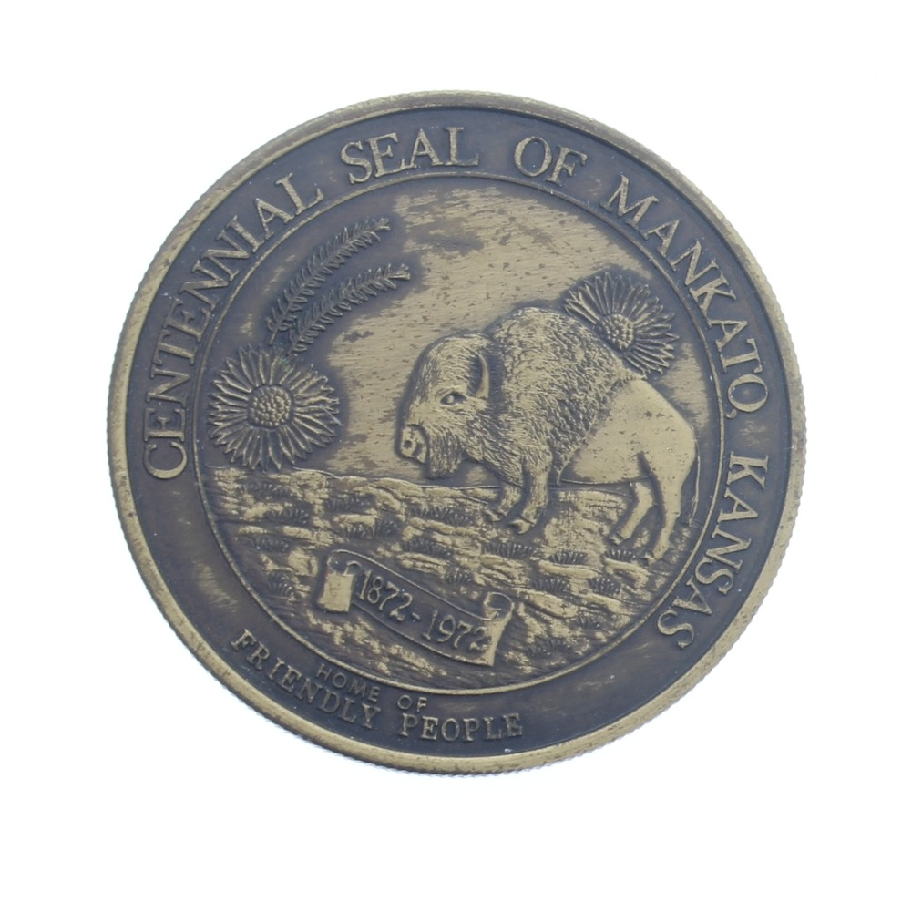Centennial Seal of Mankato Kansas 100 Years 1872-1972 Medallion Token