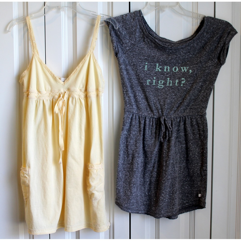 Girls A & F Abercrombie Kids Two Dresses Sz S Yellow Graphic Heather