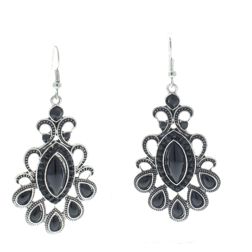 Vintage Inspred Bohemian Dangle Earrings Antique Finish Rhinestones Black