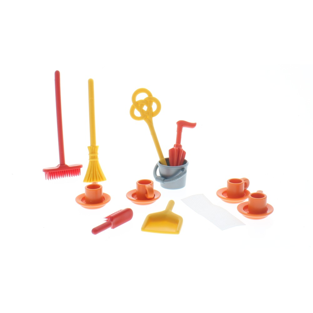 Playmobil  Victorian Rake Bucket Pail Umbrella Dishes lot Doll Set