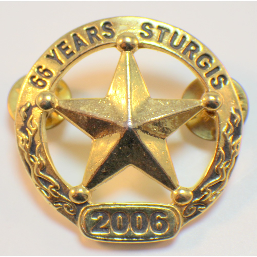 Sturgis 66 Years 2006 Gold Toned Biker Star Motorcycle Pin