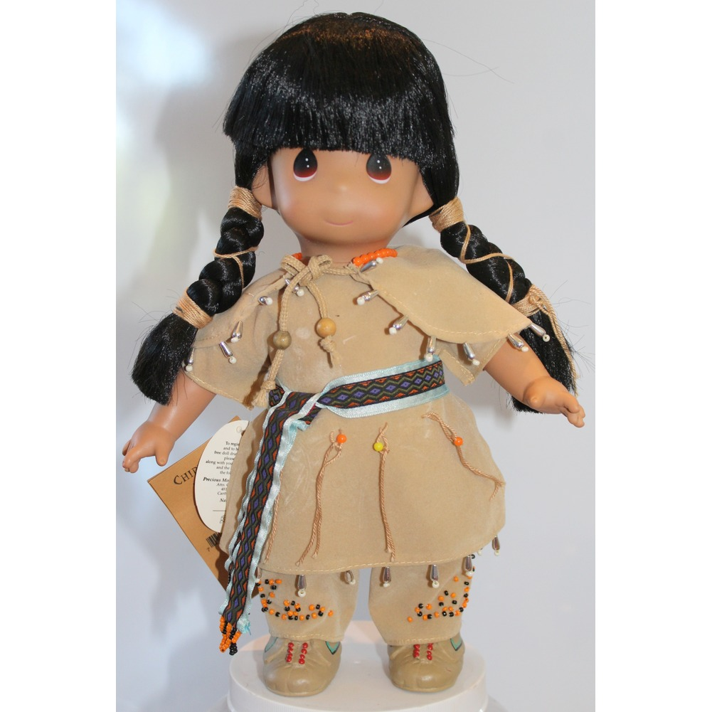 """Precious Moments Doll 12"""" Little Girl Native American Indian Chippewa Pasaboo"""